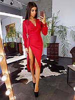 Красное асимметричное  платье футляр с запахом на груди