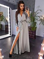 Шелковое серое платье макси с запахом на груди