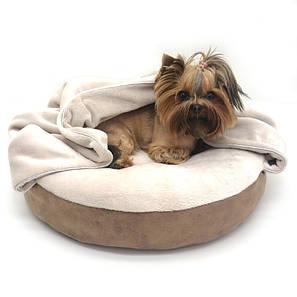Лежак пуф з ковдрою для собак і котів Айсберг круглий коричневий, фото 2