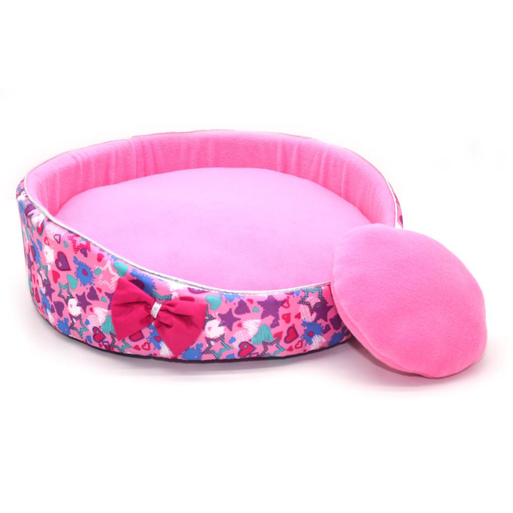 Лежак для котов и собак Звездочка №4 d-700 h-155 розовый