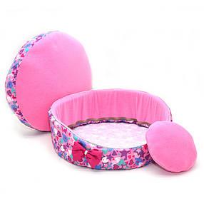 Лежак для котов и собак Звездочка №4 d-700 h-155 розовый, фото 2