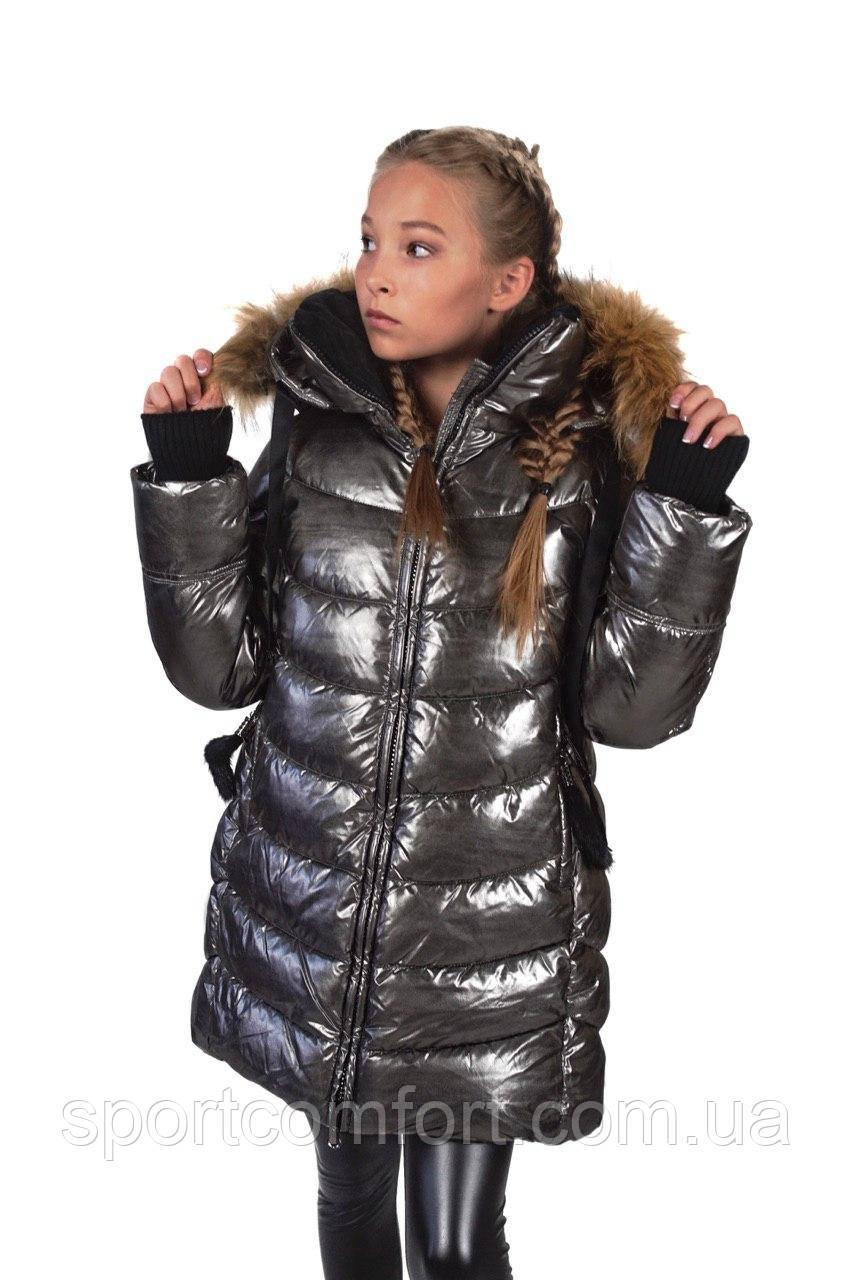 Детское пальто для девочек  Feever золото, голубое, хаки