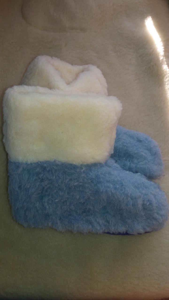 Чуні з овчини  сині