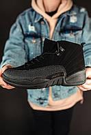Кроссовки мужские в стиле Nike Air Jordan 12 Black (Реплика ААА+)