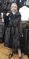 Норковая шуба халат цвет черный 100 см ШН-06