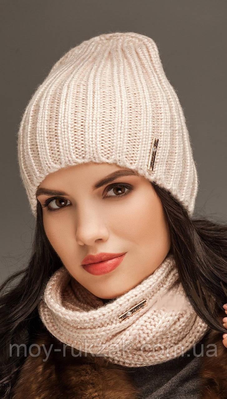 """Комплект шапка и шарф вязаные """"Брест """" пудровый 906261"""