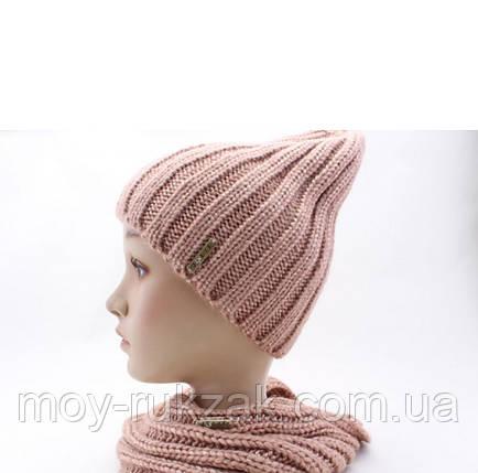 """Комплект шапка и шарф вязаные """"Брест """" пудровый 906261, фото 2"""