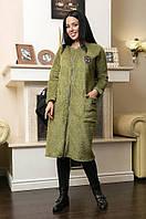 Пальто женское батал травка пальтовая оливковое