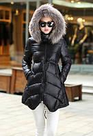 Куртка зимняя женская, черный пуховик  CC-5807-10