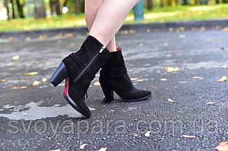 Женские демисезонные сапоги черные замшевые (00072)