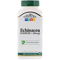 """Эхинацея, 21st Century """"Echinacea Complex"""" поддержка иммунной системы, 250 мг (200 капсул)"""