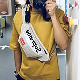 Бананка SUPREME поясная кожаная сумка суприм серебряная, фото 3