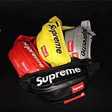 Бананка SUPREME поясная кожаная сумка суприм серебряная, фото 4