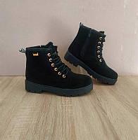 Ботинки полусапожки черные эко замша черные женские на змейке на шнурках замшевые зимние теплые