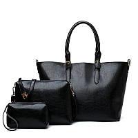 Черная большая сумка из качественой экокожи набор 3в1, фото 1