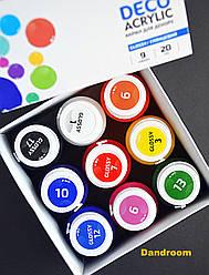 Набор акриловых красок для декора, Глянцевые, 9 цветов по 20 мл, ROSA TALENT