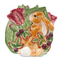 Тарелка десертная Италия Fitz&Floyd Кролик в траве 25х23 см