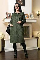 Пальто женское батал травка пальтовая зеленое