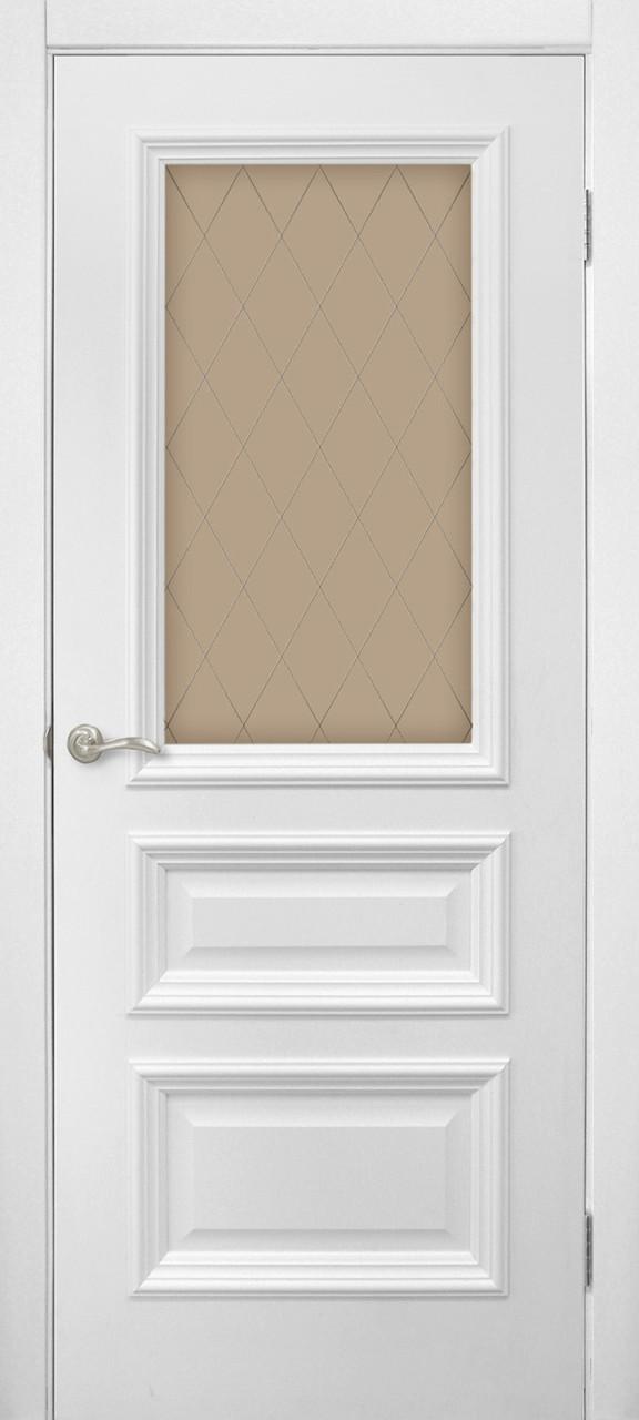 Дверь межкомнатная Сан Марко 1.2 СС+КР стекло бронза белый матовый