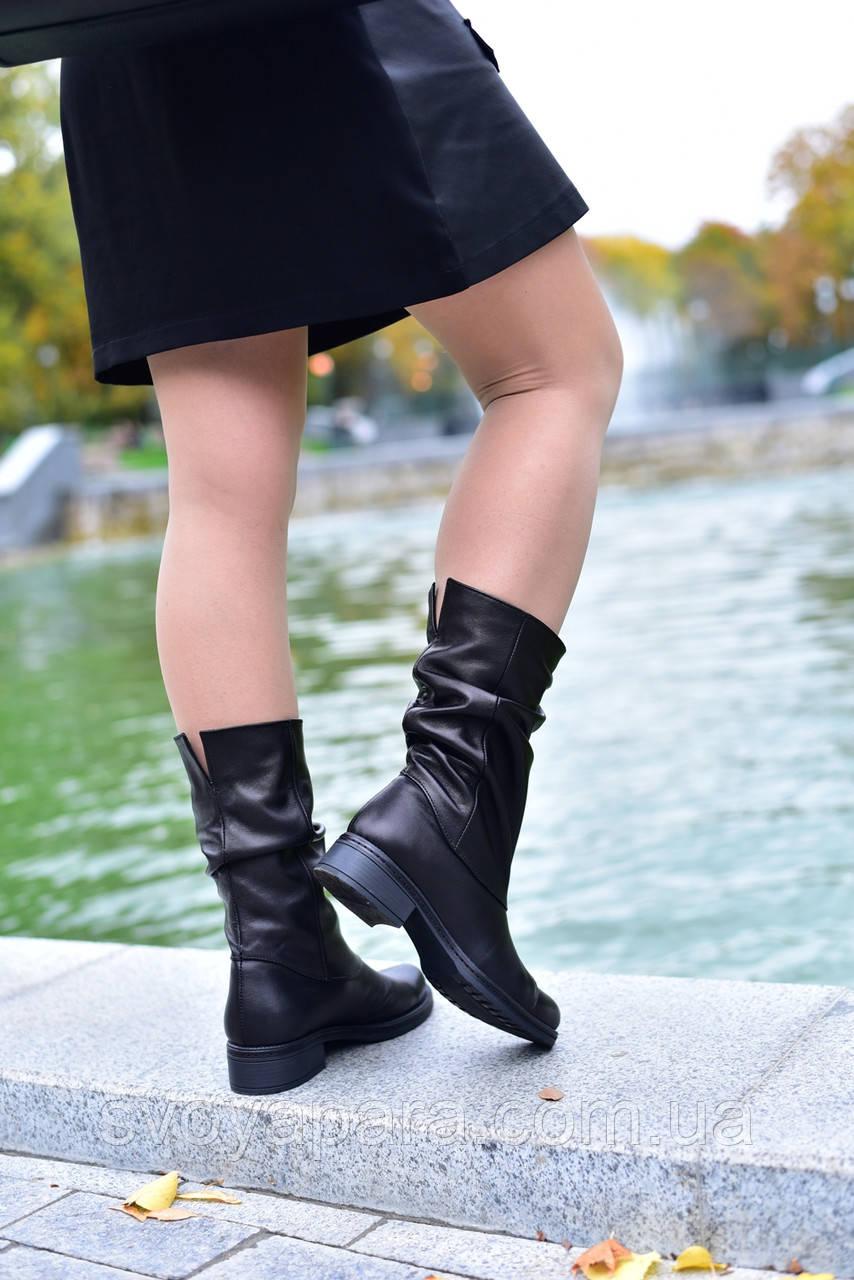 Женские демисезонные сапоги черные кожаные (101532)