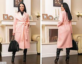 Пальто женское с поясом. Размер 48-50, 52-54, 56-58, 60-62. Ткань пальтовая шерсть букле– барашек на кашемире