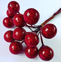 Ягоды новогодние  красные с глиттером  6 шт., фото 1