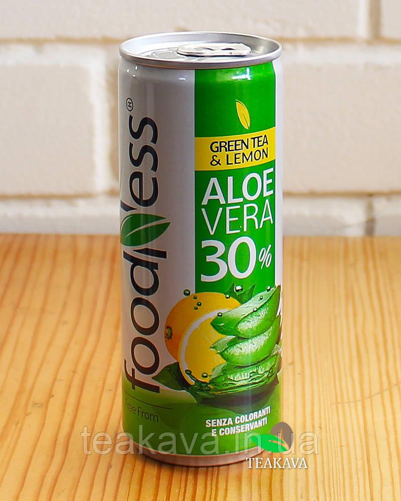 """Напиток Алоэ вера """"Зелёный чай с лимоном"""" Foodness, 250 г (ж/б) Италия"""