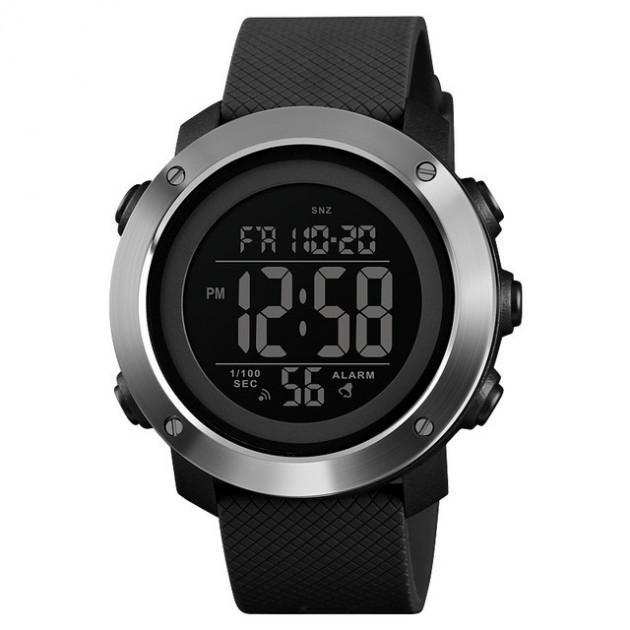 Skmei 1416 черные с железным кантом мужские спортивные часы