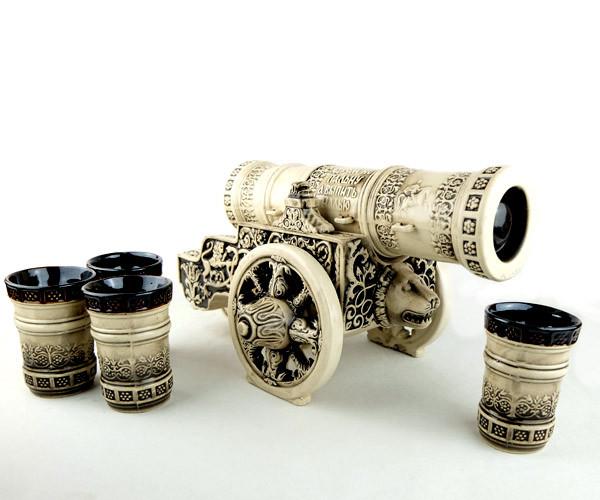 Царь-пушка - подарочный набор для спиртного, бутылка-пушка с рюмками