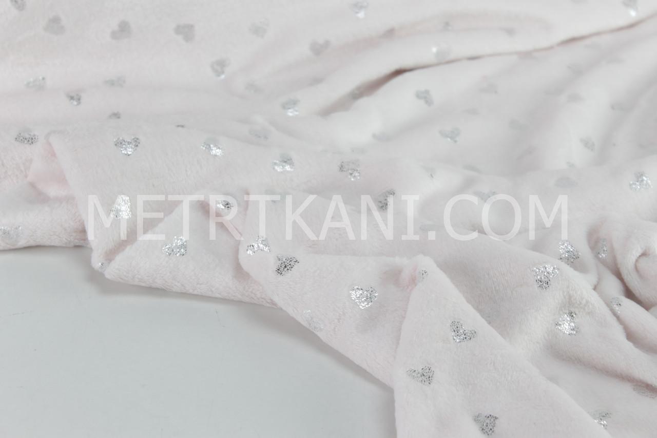 Плюш двухсторонний в сердечка серебро цвета нежно-розовый  (глиттер) 340 г/м2 № пд-04