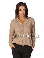 Блуза на резинке бежевый, фото 1