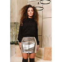 Стильная кожаная юбка мини серебристого цвета