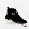 Женские элегантные кожаные демисезонные ботиночки черного цвета