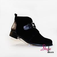 Женские элегантные кожаные демисезонные ботиночки черного цвета, фото 1