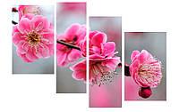 Модульная картина Декор Карпаты 110х70 см Розовые цветы (M4-4)