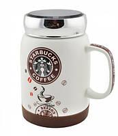 Starbucks SH 025-1 Brown кружка Старбакс Чашка керамическая с крышкой