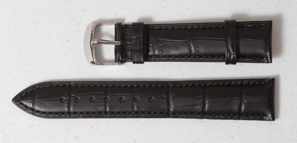 Ремінець для годинника Hightone з натуральної шкіри. Чорного кольору 20 мм