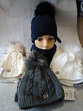 Шапочка для девочки с помпоном с шарфиком баф