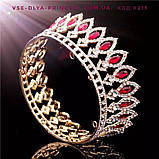 Корона кругла під золото з зеленими каменями, діадема, тіара, висота 5 див., фото 7