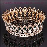 Корона круглая под золото с зелеными камнями, диадема, тиара, высота 5 см., фото 7