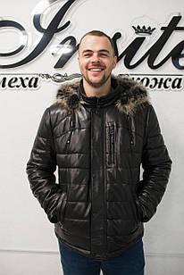 Кожаный Пуховик Мужской  Зима 002НМ