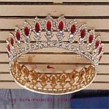 Корона кругла під золото з червоними камінцями, діадема, тіара, висота 5 див., фото 2