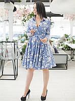 Платье-рубашка с расклешенной юбкой