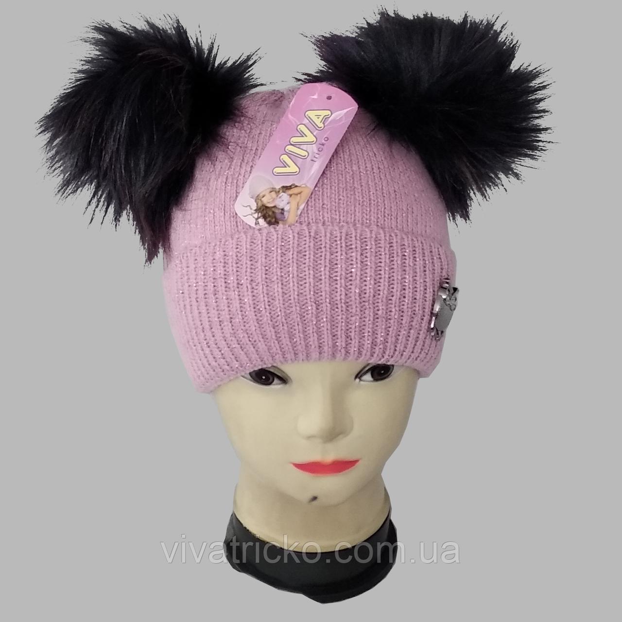 М 5099 Шапочка для девочки шапка  з двома помпонами, кашемир, флис