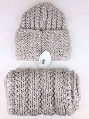 Комплект (шапка и снуд-хомут) Flirt Стилари One Size лен, фото 2