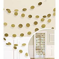 2,1 м 6 шт. (Ø5 см) Гірлянда Кружечки золото фольга, картон з глітером