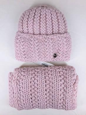 Комплект (шапка и снуд-хомут) Flirt Стилари One Size пудра, фото 2