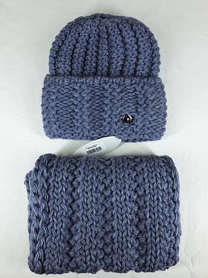 Комплект (шапка и снуд-хомут) Flirt Стилари One Size джинс, фото 2