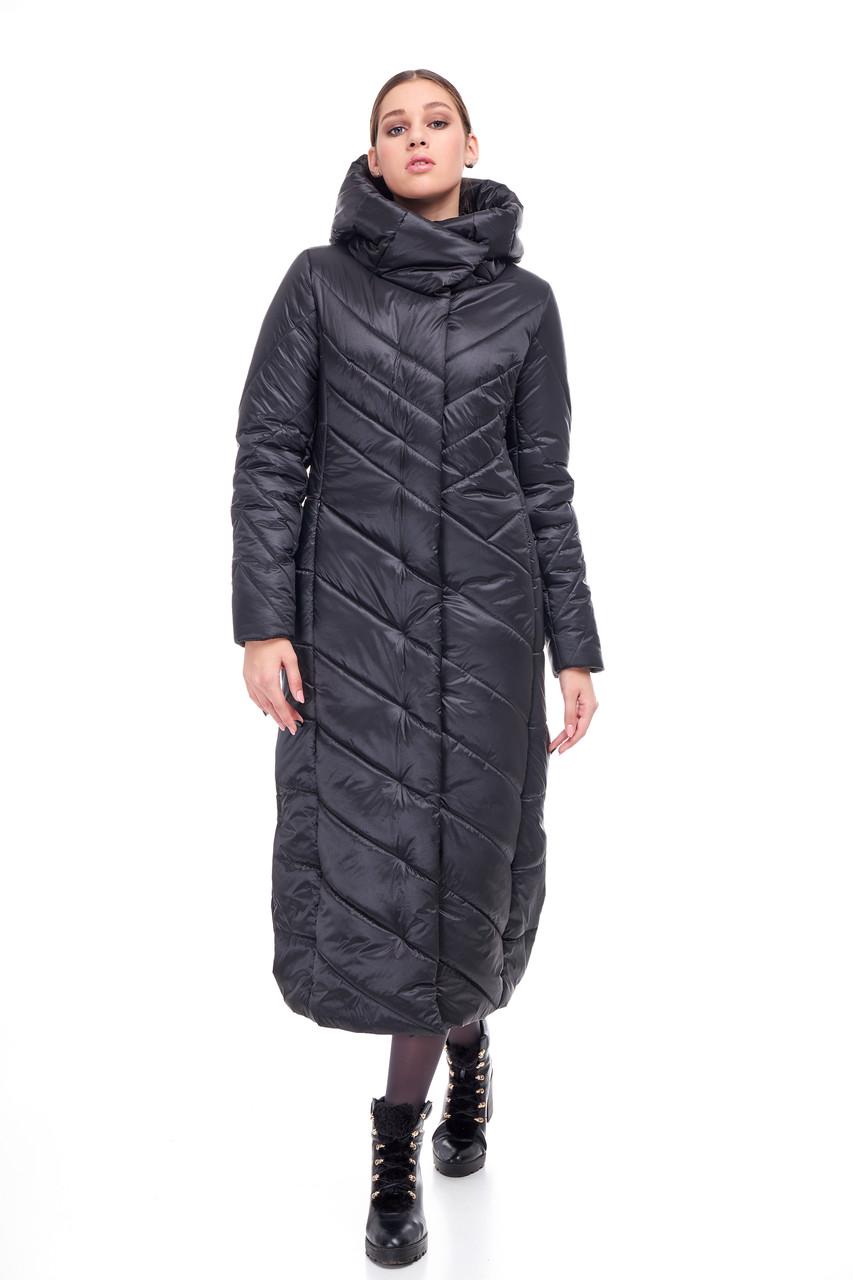 Черное сатиновое пальто одеяло Женское зимнее длинное непромокаемое на синтепухе размеры от 42 до 54