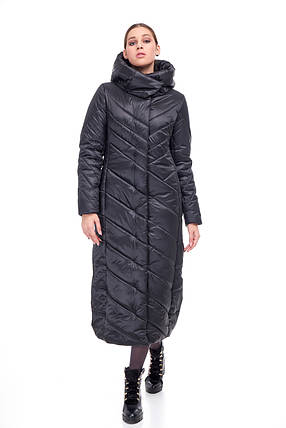 Черное сатиновое пальто одеяло Женское зимнее длинное непромокаемое на синтепухе размеры от 42 до 54, фото 2